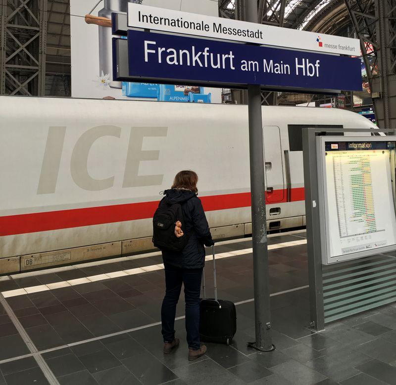 Ein ICE steht am Bahnhof Frankfurt