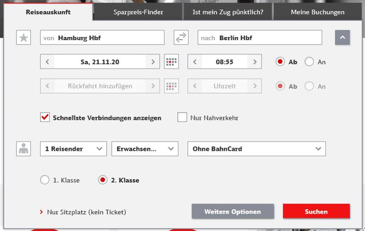 DB Bestpreissuche Schritt 1