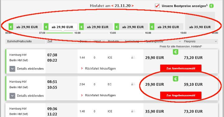 DB Bestpreissuche Schritt 3 - Bahn Bestpreise vergleichen