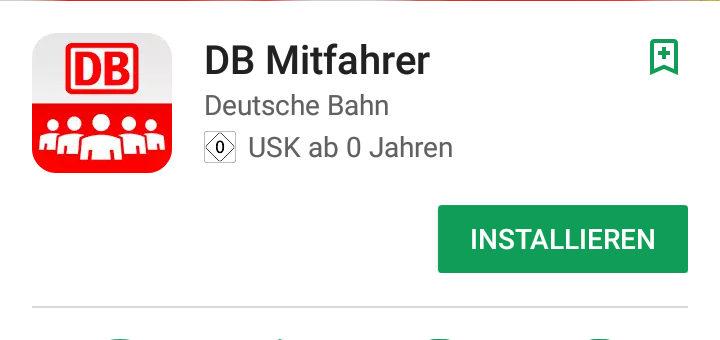 DB Mitfahrer App der Deutschen Bahn
