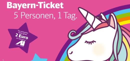 Einhorn Bayern-Ticket zum 20-jährigen Jubiläum des Bayern-Tickets