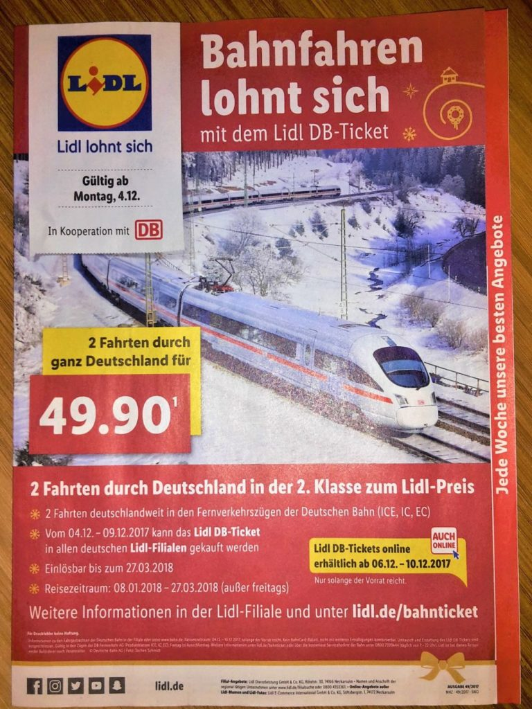 Das Lidl DB-Ticket Prospekt im Dezember 2017