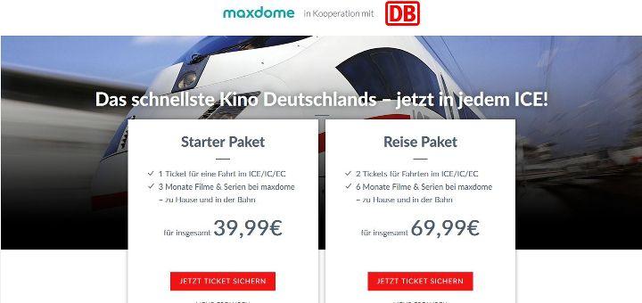 Maxdome kooperiert mit der Deutschen Bahn und bietet Bahn-Tickets in Verbindung mit dem Streamingdienst an.